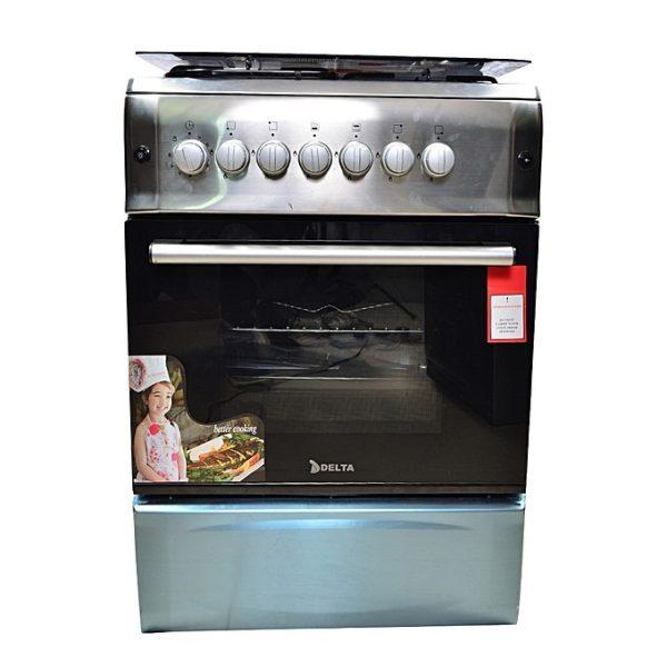 DELTA-Cuisinière à Gaz - 4 Foyers 60x60 - 100% Inox - Tourne broche- 12mois de garantie