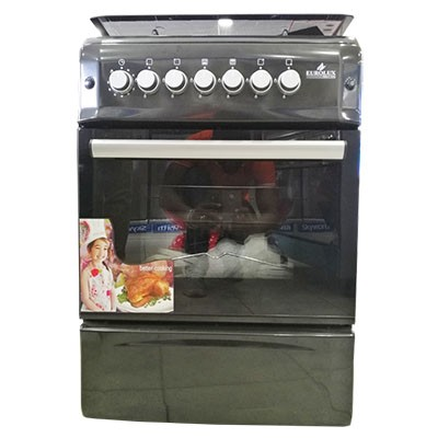 EUROLUX-Cuisinière à Gaz - 4 Foyers 60x60 - Inox marron - Tourne broche- 12mois de garantie