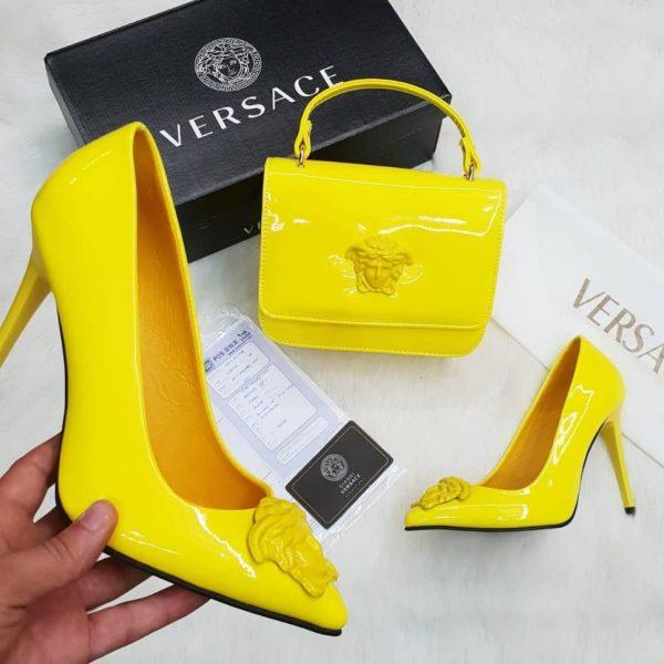 Versace ensemble Chaussures talons hauts & Sac à main - vernis Jaune - Neuf