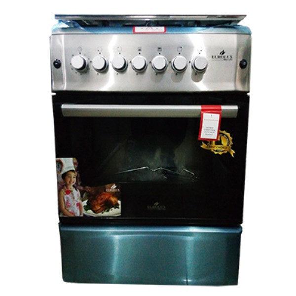 EUROLUX-Cuisinière à Gaz - 4 Foyers 60x60 - 100% Inox - Tourne broche- 1 an garantie