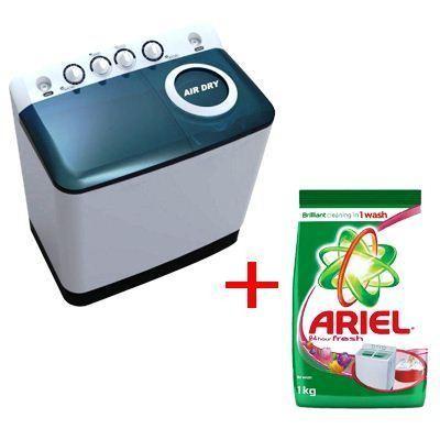 MIDEA LAVE LINGE 10Kg - Semi-automatique - 1 Paquet de Lessive en Poudre -Ariel 1kg - 12mois de garantie