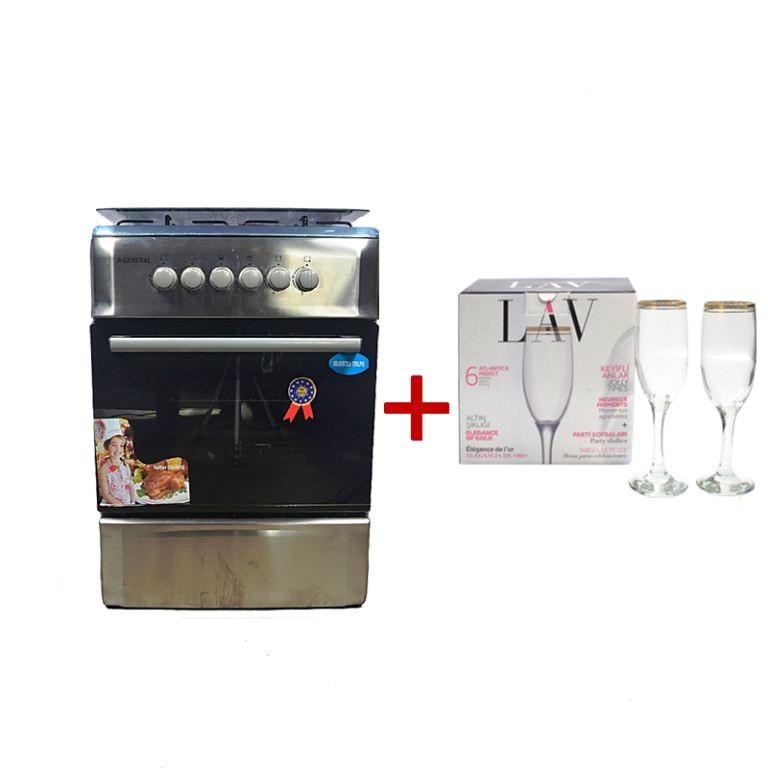 A GENERAL Cuisinière à gaz - 4 foyers - Dimensions 60cmX60cm -Lot 6 verres LAV - Or - 12mois Garantie