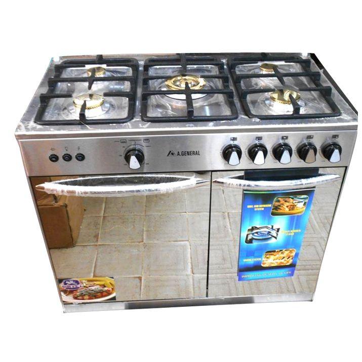 A GENERAL -Cuisinière à Gaz - 5 Foyers -Dimensions 80x70cm - 100% Inox - Tourne broche- 12mois de garantie -Livraison Gratuite