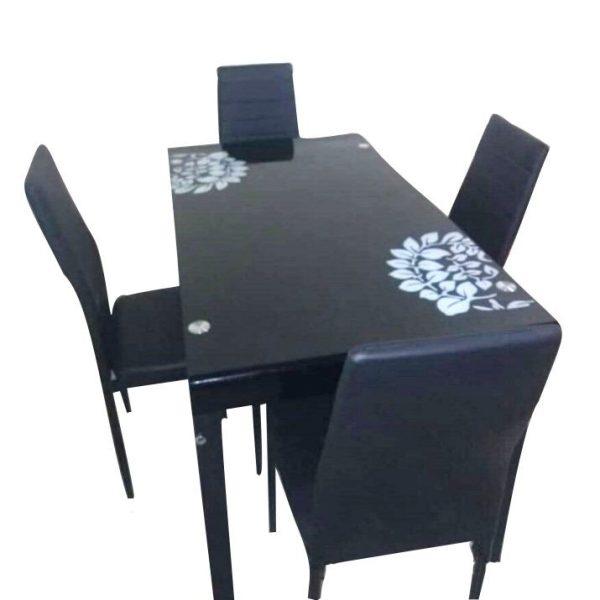 SALLE A MANGER 04 PLACES - Table Vitrée - Chaises cuire tissé -Noir