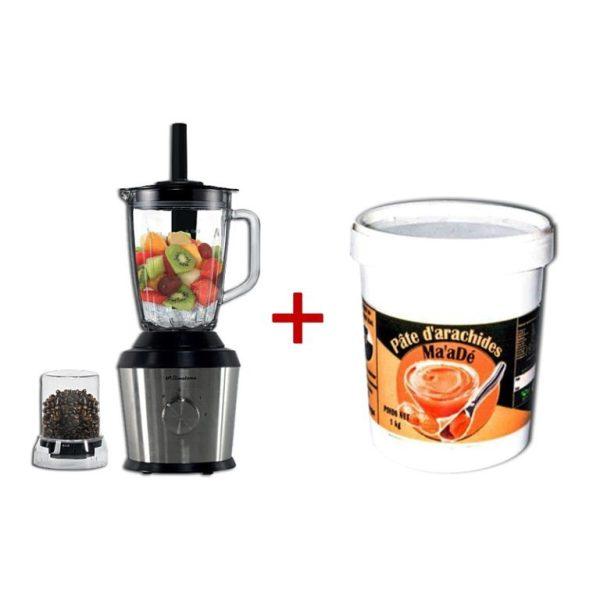 BINATONE Mixeur- INOX -BLG 600S- 2bols- Pot 1Kg Ma'adé -Pâte d'arachides - Tartine -Cuisson-6Mois Garantie