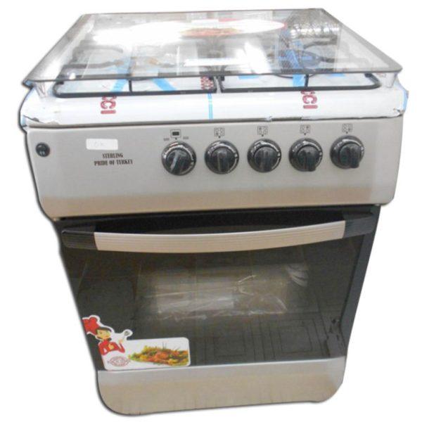STERLING 60X60cm Cuisinière à gaz 4 Foyers Inox - Couleur Grise - Tourne broche- 12mois de garantie