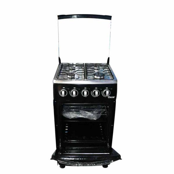 OSCAR-Cuisinière à Gaz 4 Foyers 60x60cm - Inox recouvert d'émail Noir- 12mois de garantie