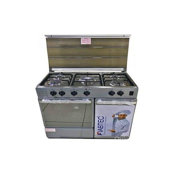 FIABTEC - Cuisinière à Gaz - 5 Foyers - INOX- FTGOX-72050BL - 90cmX60cm - Etat Neuf 1 An Garantie